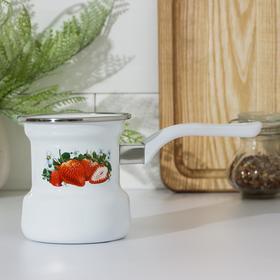 Кофеварка Лысьвенские эмали «Сочная клубника», 400 мл, цвет белый