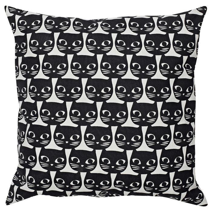 Декоративная подушка МАТТРАМ, 40х40 см, цвет белый/чёрный кот