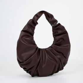 Сумка-хобо, отдел на молнии, цвет тёмно-коричневый