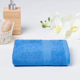 Полотенце махровое гладкокрашеное Эконом 30х60 см, голубой, хлопок 100%, 370г/м2