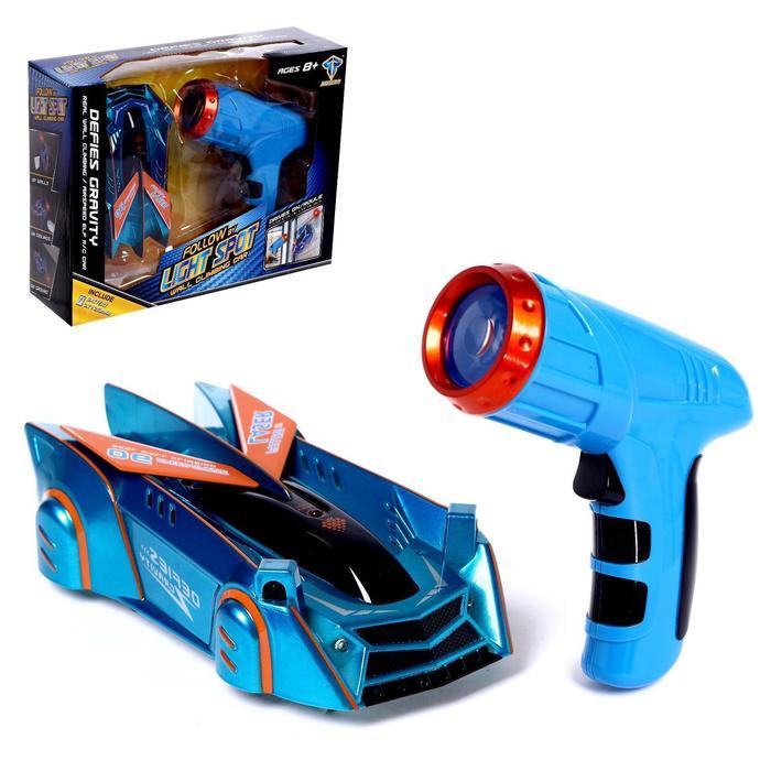 Антигравитационная машинка Racer, управление лазером, аккумулятор, ездит по стенам, синий