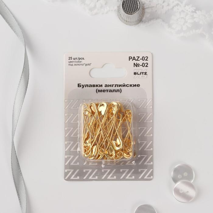 Булавки английские 36 мм, 25 шт, цвет золотой