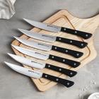 Набор кухонных ножей для стейка, 6 шт: лезвие 12,5 см, чёрная рукоять - Фото 1