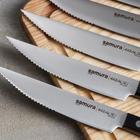 Набор кухонных ножей для стейка, 6 шт: лезвие 12,5 см, чёрная рукоять - Фото 2