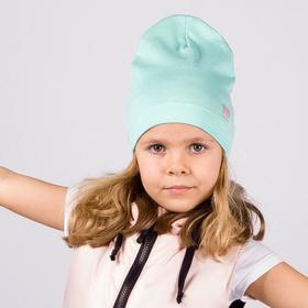 Шапка для девочки, цвет мята/сердечко, размер 50-54