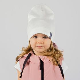Шапочка для девочки, цвет молочный/звезда, размер 46-50