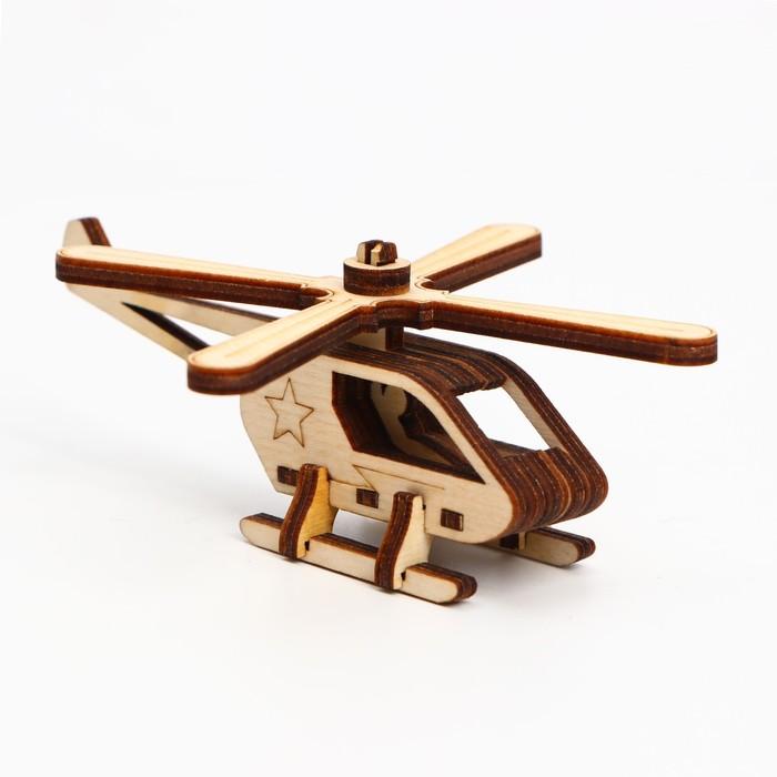 Деревянный конструктор. Cборная модель Вертолёт 14 деталей