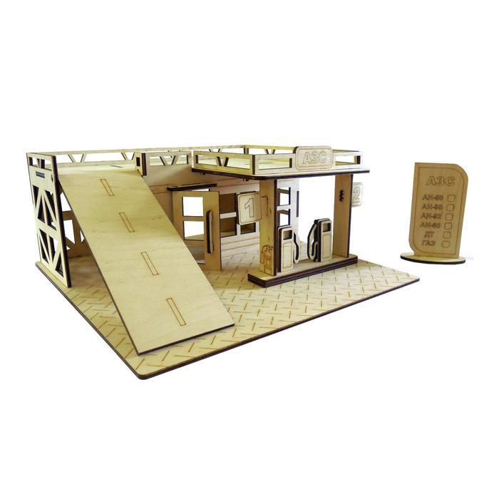 Cборная модель «Автозаправочная станция» 28 детали из фанеры