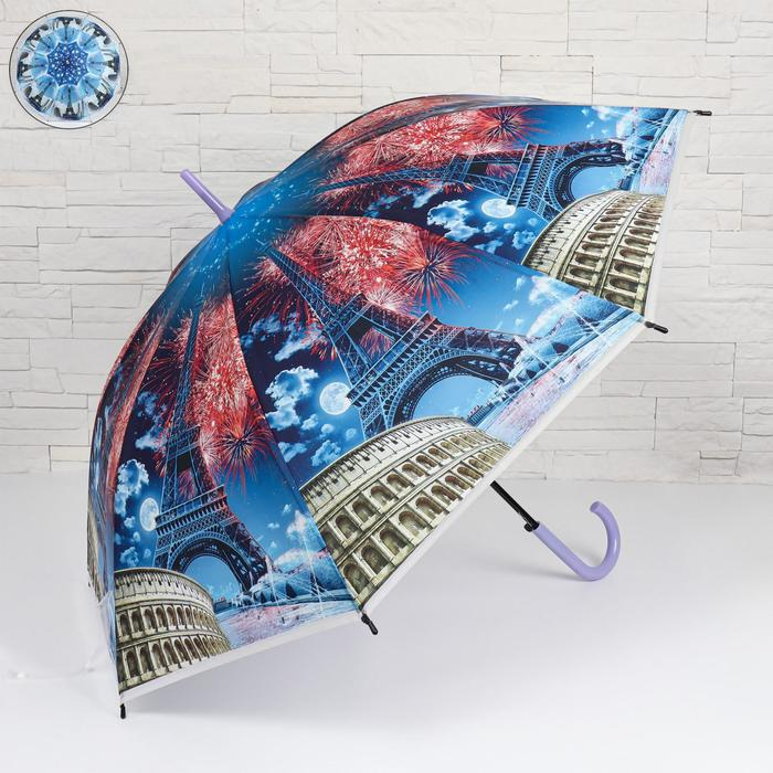 Зонт - трость полуавтоматический «Travel», 8 спиц, R = 51 см, цвет МИКС