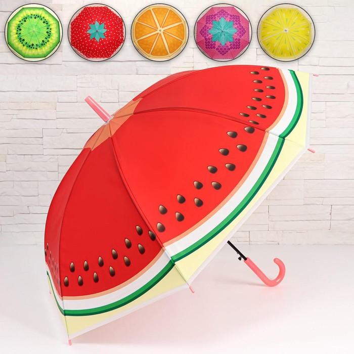 Зонт - трость полуавтоматический «Вкусняшки», 8 спиц, R = 45 см, цвет МИКС