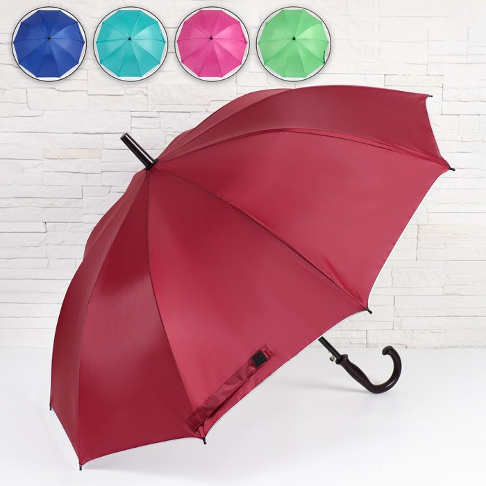 Зонт - трость полуавтоматический «Однотонный», ветроустойчивый, 10 спиц, R = 48 см, цвет МИКС/серебристый