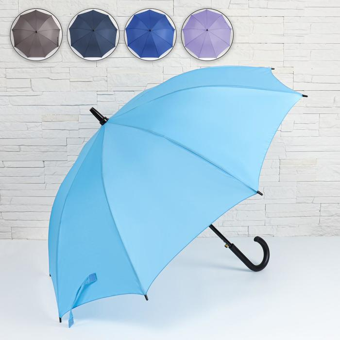 Зонт - трость полуавтоматический «Однотонный», ветроустойчивый, 9 спиц, R = 51 см, цвет МИКС