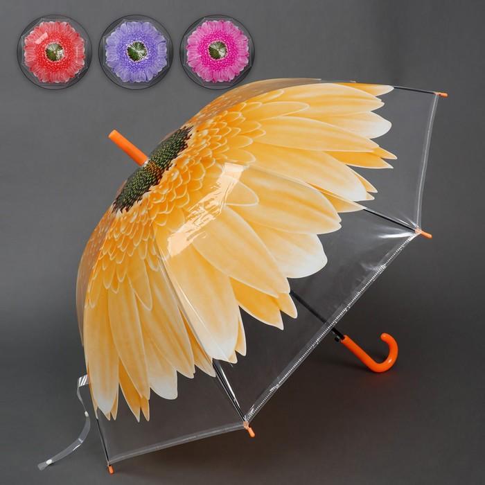 Зонт - трость полуавтоматический «Gerbera», 8 спиц, R = 45 см, цвет МИКС