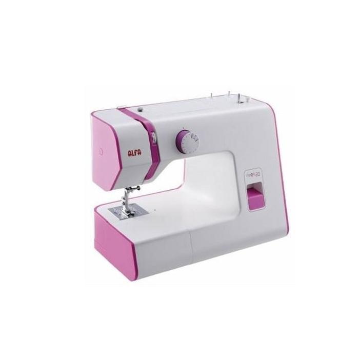 Швейная машина ALFA Next 20, 70 Вт, 13 операций, полуавтомат, белый/сиреневый