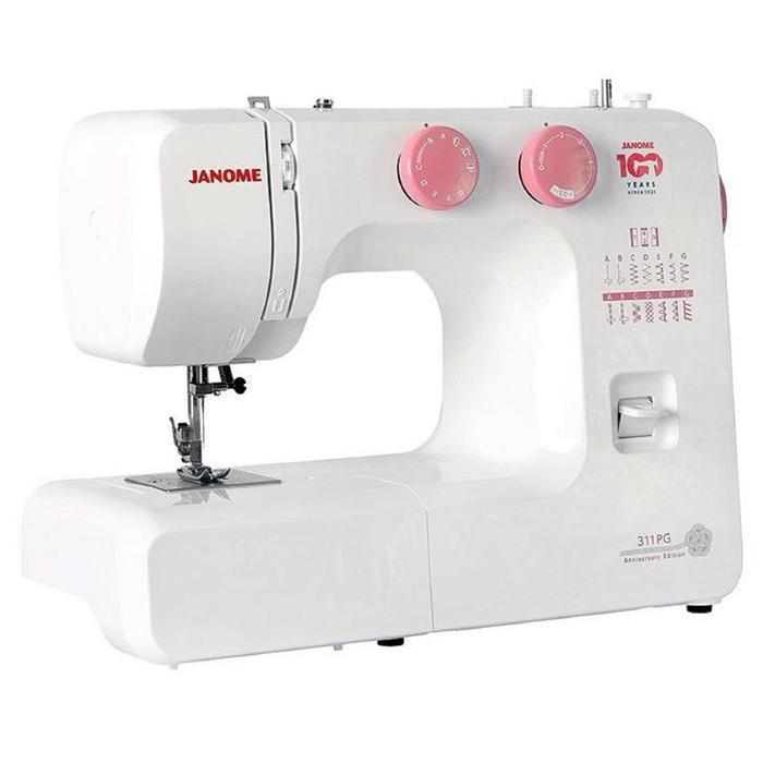 Швейная машина Janome 311 PG, 60 Вт, 15 операций, полуавтомат, белый/розовый