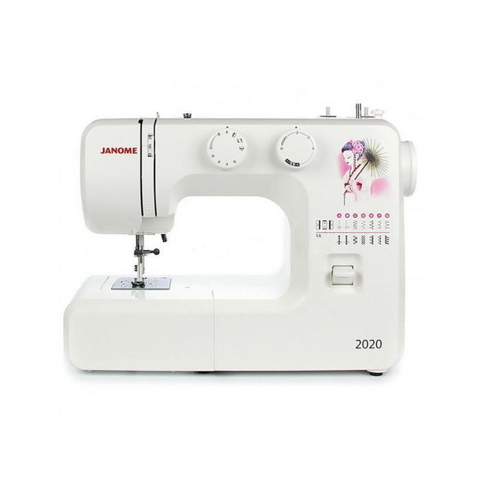 Швейная машина Janome 2020, 85 Вт, 15 операций, полуавтомат, белый
