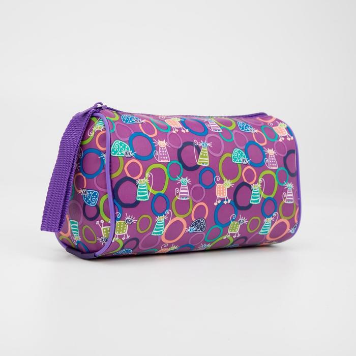Косметичка, отдел на молнии, цвет фиолетовый