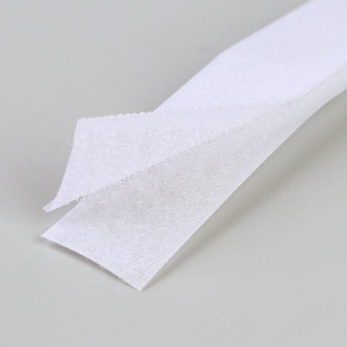 Липучка, 20 мм  25 см, цвет белый