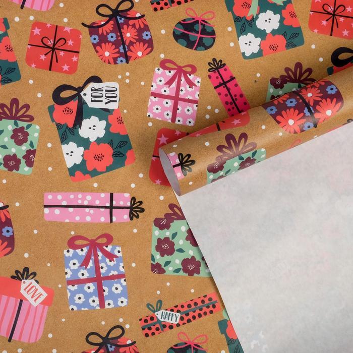 Бумага упаковочная крафтовая Подарки, 50 70 см