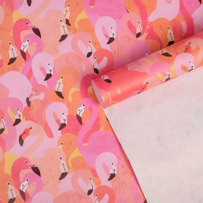 Бумага упаковочная крафтовая Фламинго, 50 70 см