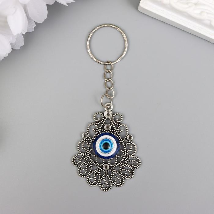 "Брелок металл глазки ""Ажурный медальон"" серебро 4,5х3,7 см"