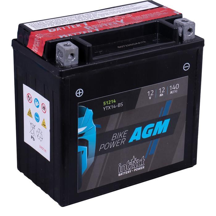Аккумулятор intAct IA YTX14-BS, AGM, 12В, 12Ач, пуск ток 140 А, обратная (- +)