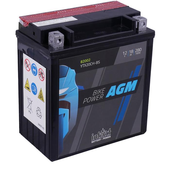 Аккумулятор intAct IA YTX20CH-BS, AGM, 12В, 18Ач, пуск ток 280 А, прямая (+ -)