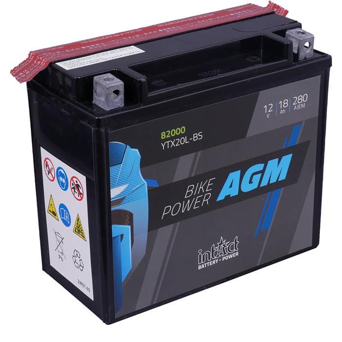 Аккумулятор intAct IA YTX20L-BS, AGM, 12В, 18Ач, пуск ток 280 А, обратная (- +)