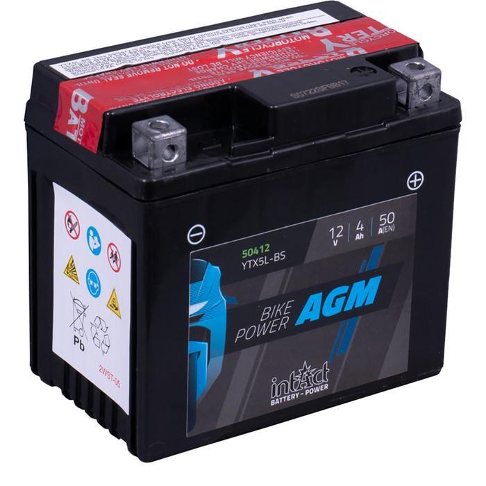 Аккумулятор intAct IA YTX5L-BS, AGM, 12В, 4Ач, пуск ток 50А, обратная (- +)
