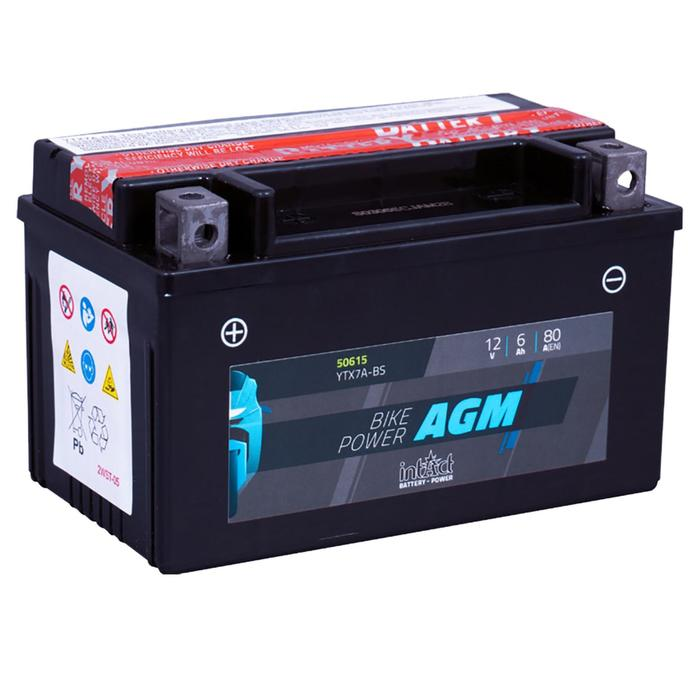 Аккумулятор intAct IA YTX7A-BS, AGM, 12В, 6Ач, пуск ток 80 А, прямая (+ -)