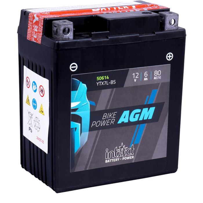 Аккумулятор intAct IA YTX7L-BS, AGM, 12В, 6Ач, пуск ток 80 А, обратная (- +)