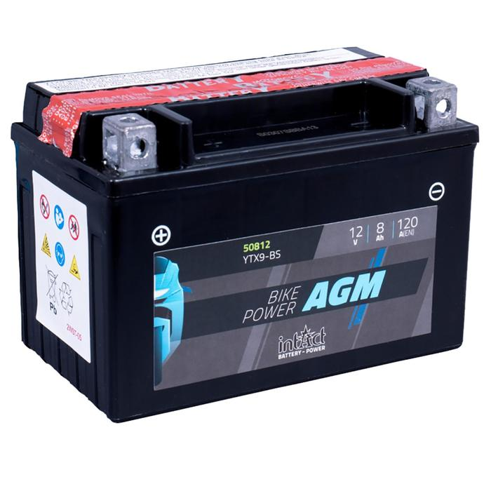 Аккумулятор intAct IA YTX9-BS, AGM, 12В, 8Ач, пуск ток 120 А, прямая (+ -)