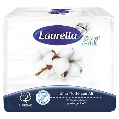 Прокладки гигиенические женские ультра ночные с крылышками, с органическим хлопком LAURELLA, - Фото 1