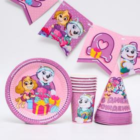 """Набор  бумажной посуды  """"С днем рождения!"""" Скай и Эверест, Щенячий патруль, на 6 персон"""