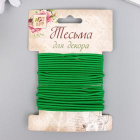 "Тесьма декоративная резинка ""Зелёная круглая"" намотка 4 м ширина 0,2 см"