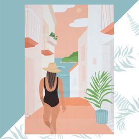 Полотенце пляжное Этель «Девушка в купальнике» 96х146 см, 100% хлопок