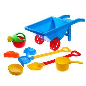 Песочный набор «Тачка строителя», 8 предметов