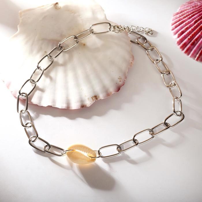 Колье Цепь морская цвет белый в серебре ,30см