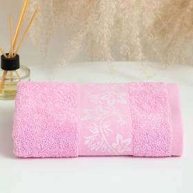 Полотенце махровое Цветок ВЦ 30х60 см, 02-054 розовый, хлопок 100%, 360г/м2