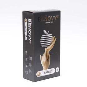 Перчатки медицинские латексные неопудренные гладкие Benovy S, 50 пар уп.