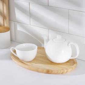 Поднос «Комфорт», 30×20 см, овальный, бамбук