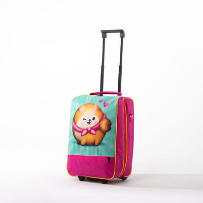 """Чемодан малый 16"""", отдел на молнии, наружный карман, цвет розовый - Фото 1"""