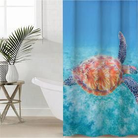 Штора для ванной комнаты «В морских глубинах», 145×180 см, оксфорд