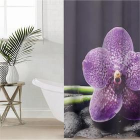 Штора для ванной комнаты «Фиолетовая орхидея», 145×180 см, оксфорд