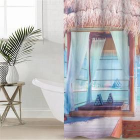 Штора для ванной комнаты «Морской уголок», 145×180 см, оксфорд