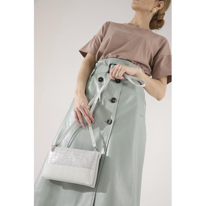 Клатч, 2 отдела на молнии, наружный карман, длинный ремень, цвет серый