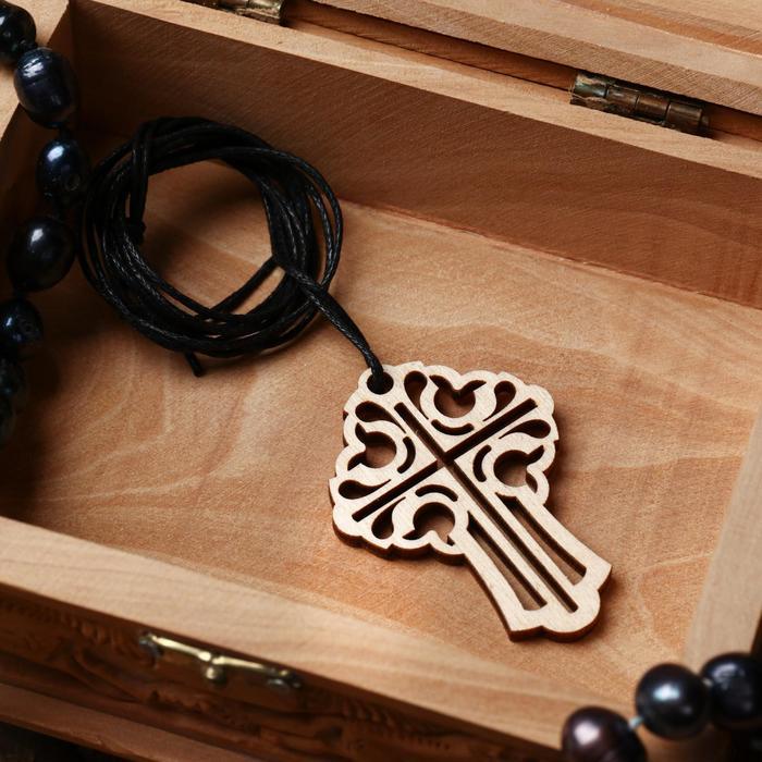 Крест нательный 2, резной, на шнурке, дерево, 5х3,5 см
