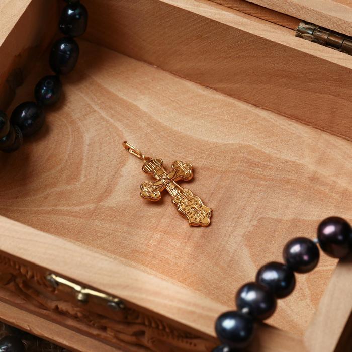 Крест нательный 1, цвет золотой, алюминий, 20х38 мм