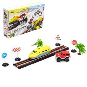 Железная дорога-автотрек «Большое путешествие», с машинкой и поездом, перекресток
