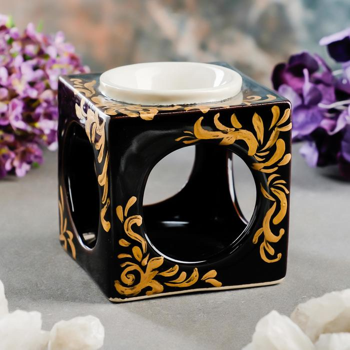 """Аромалампа """"Куб"""" чёрно-белая,с золотом 9.5 см"""
